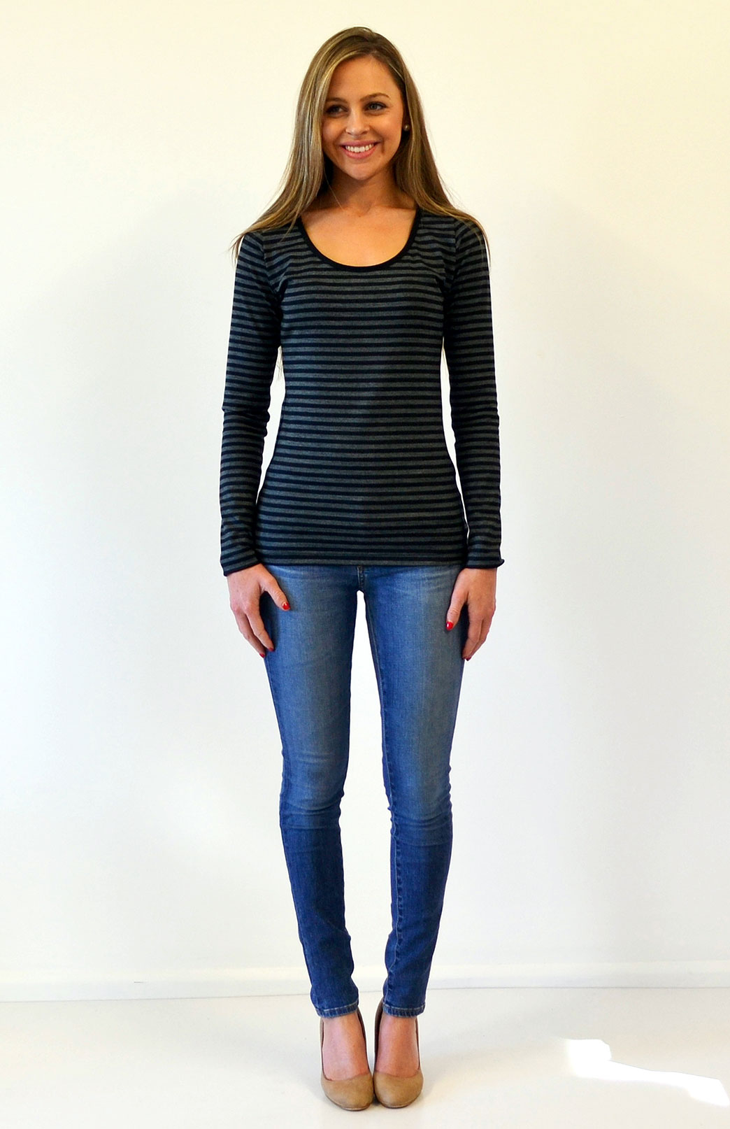 Scoop Neck Top - Patterned - Women's Black and Grey Striped Merino Wool Long Sleeved Thermal Top with Scoop Neckline - Smitten Merino Tasmania Australia