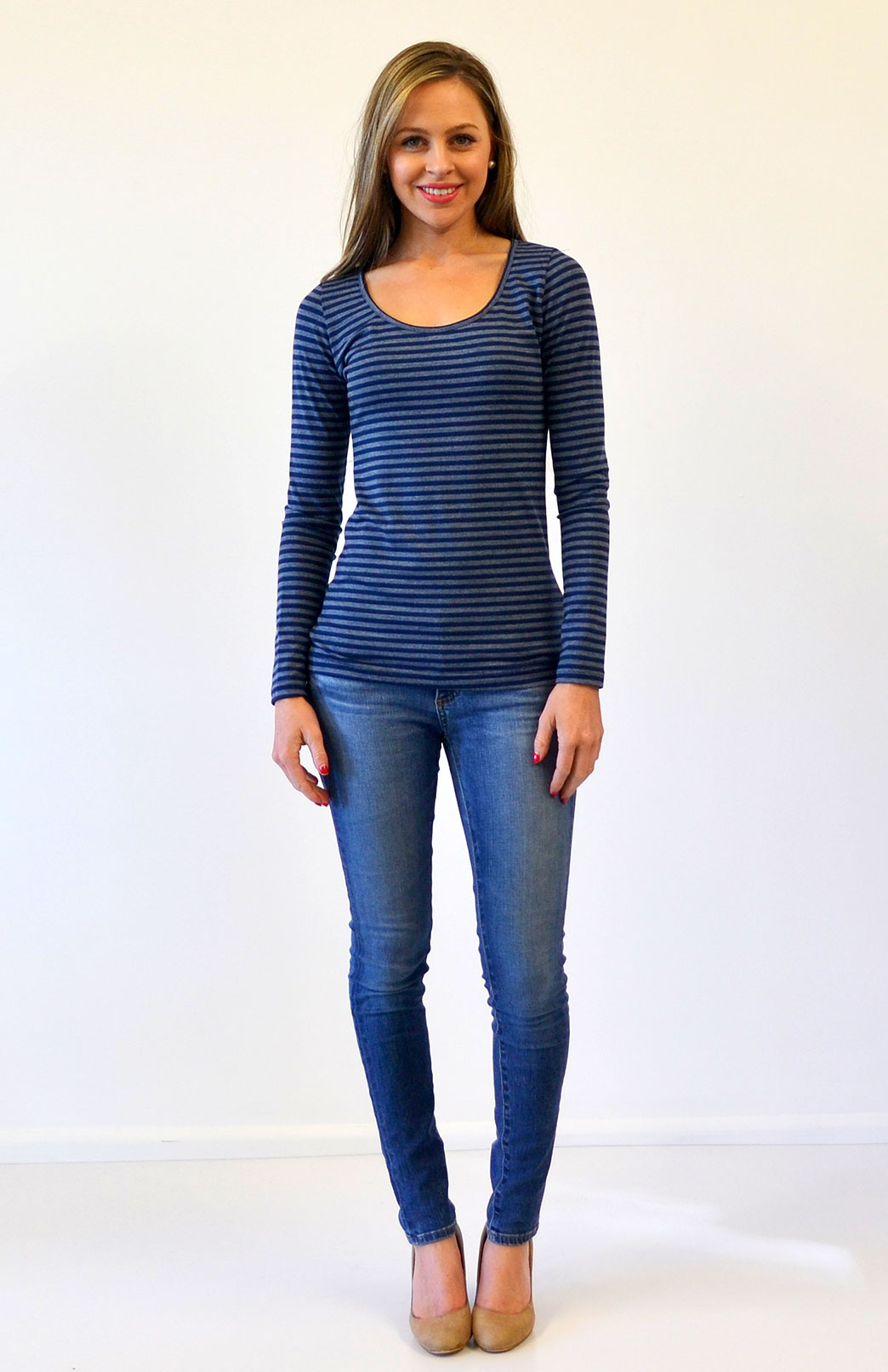 Scoop Neck Top - Patterned - Women's Blue and Grey Stripe Merino Wool Blend Long Sleeved Scoop Neck Top - Smitten Merino Tasmania Australia