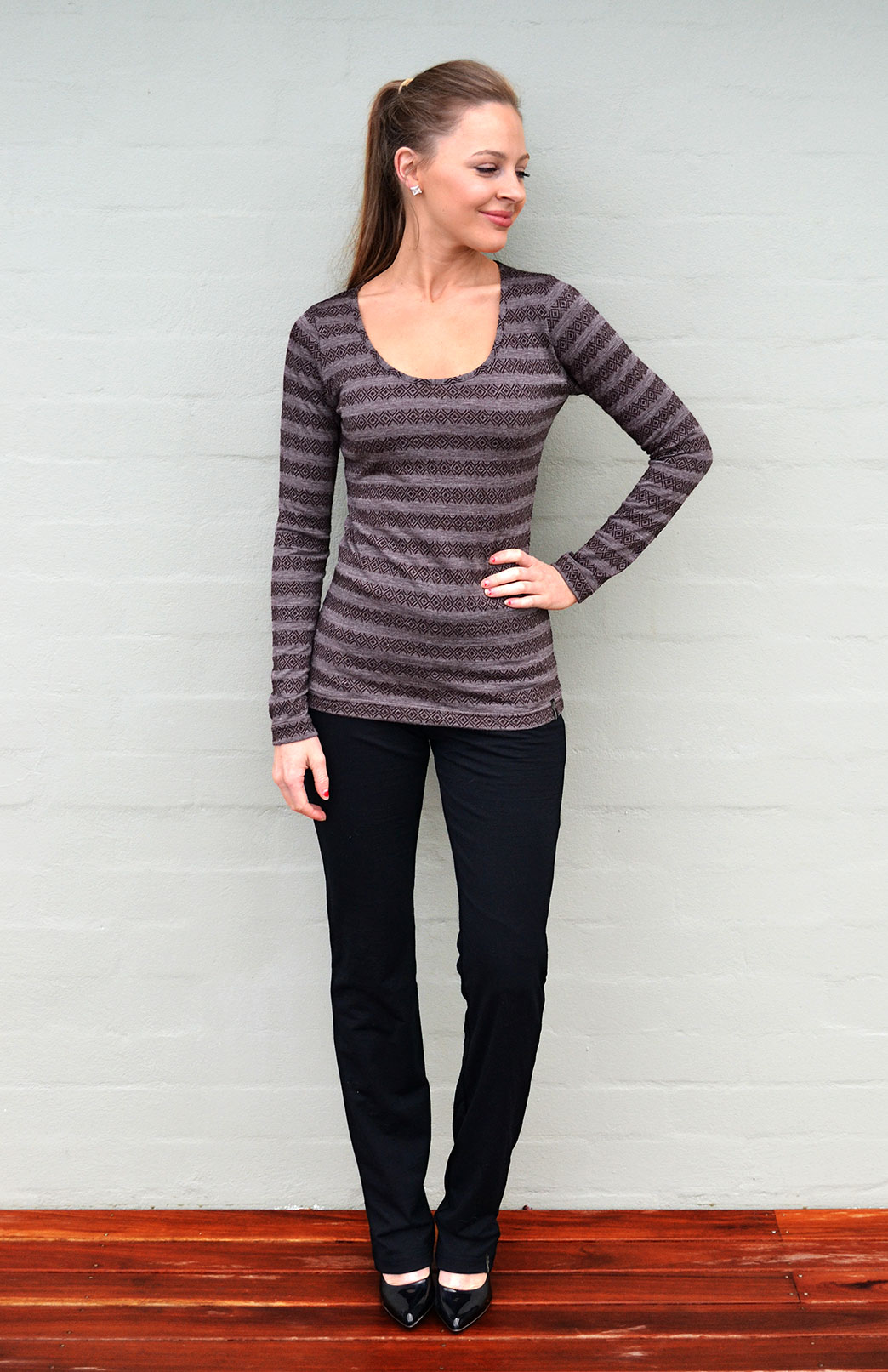 Scoop Neck Top - Patterned - Women's Coffee Brown Aztec Patterned Merino Wool Long Sleeved Thermal Top with Scoop Neckline - Smitten Merino Tasmania Australia