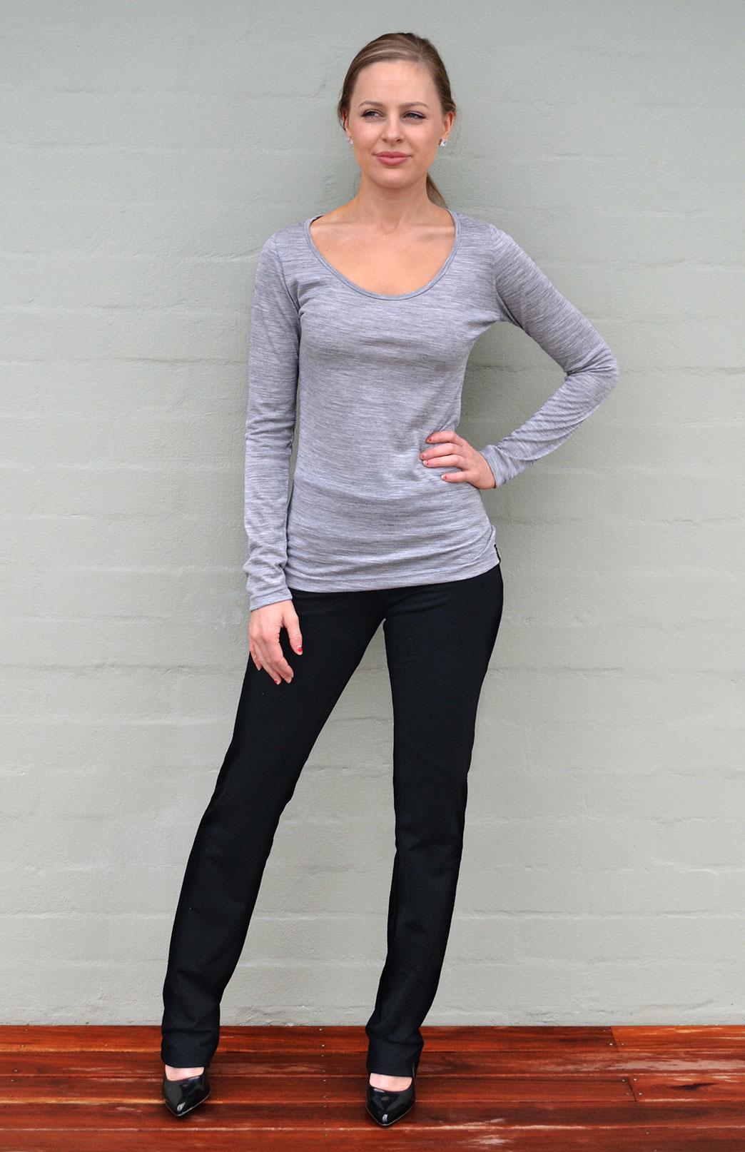 Straight Leg Pants - Women's Black Lightweight Wool Straight Leg Pants with wide waistband - Smitten Merino Tasmania Australia