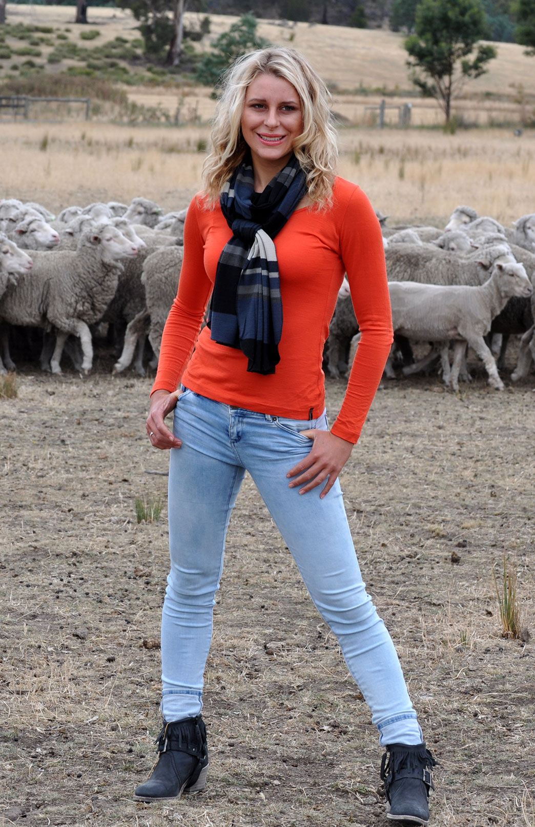 Scoop Neck Top - Plain - Women's Paprika Orange Pure Merino Wool Long Sleeved Layering Top with Scoop Neckline - Smitten Merino Tasmania Australia