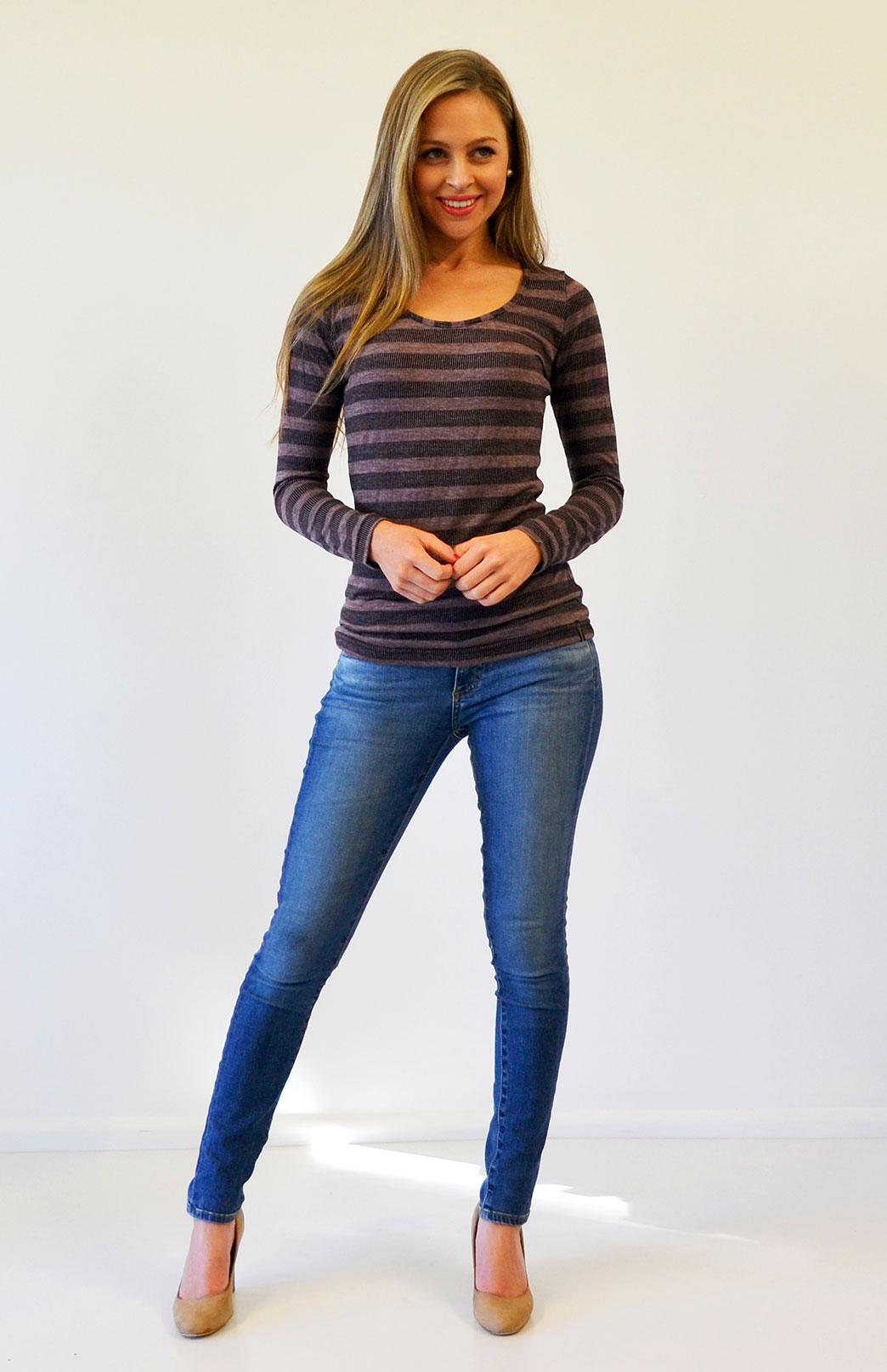 Scoop Neck Top - Patterned - Women's Raisin Stripe Merino Wool Blend Long Sleeved Scoop Neck Top - Smitten Merino Tasmania Australia