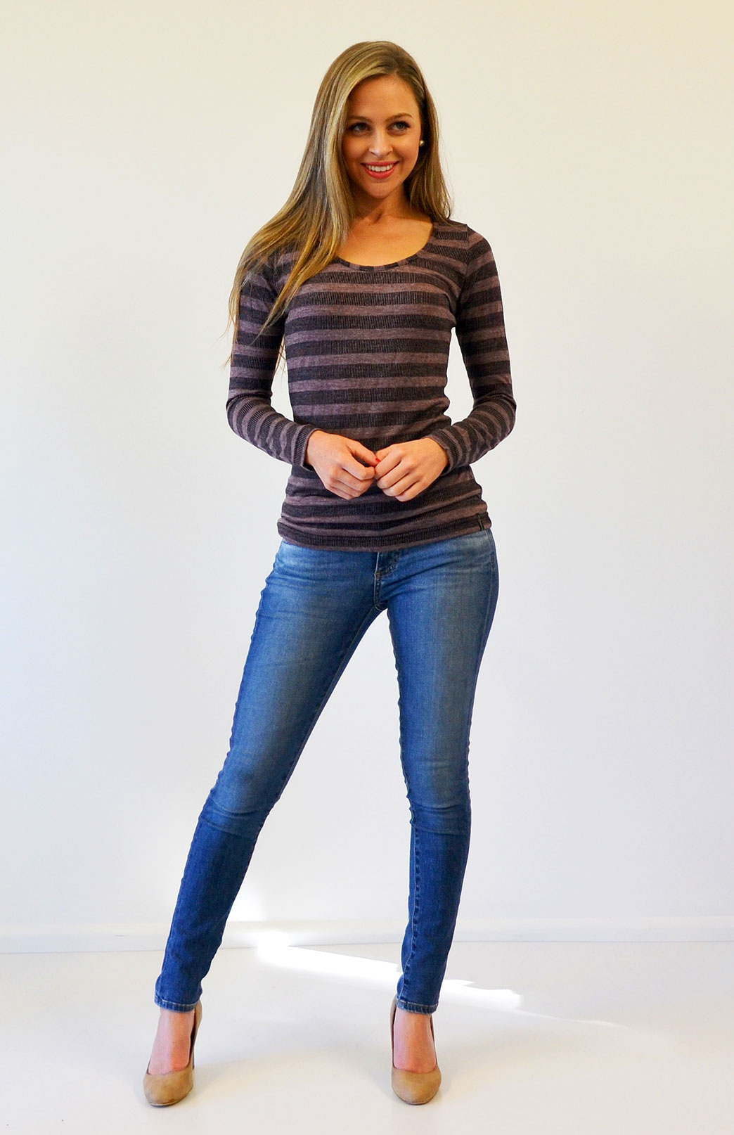 Scoop Neck Top - Patterned - Women's Raisin Stripe Merino Wool Blend Long Sleeved Scoop Neck Top - Smitten Merino Tasmania Australia