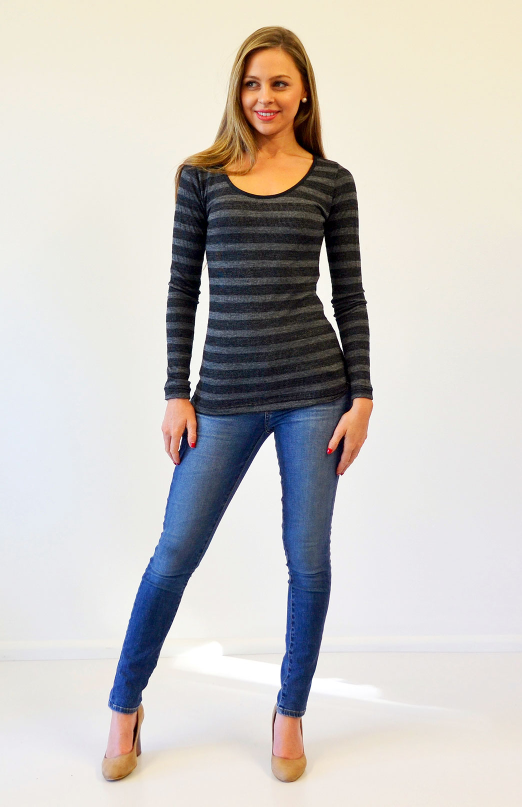 Scoop Neck Top - Patterned - Women's Black and Grey Wide Stripe Merino Wool Blend Long Sleeved Scoop Neck Top - Smitten Merino Tasmania Australia