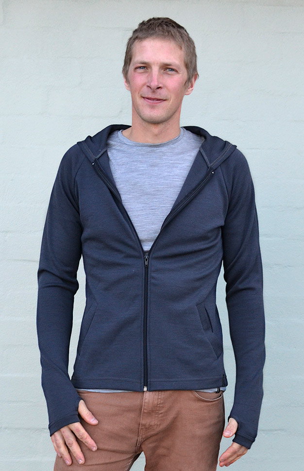 Zip Jacket with Hood - Men's 100% Merino Wool Heavy Weight Zip Jacket with Hood - Smitten Merino Tasmania Australia