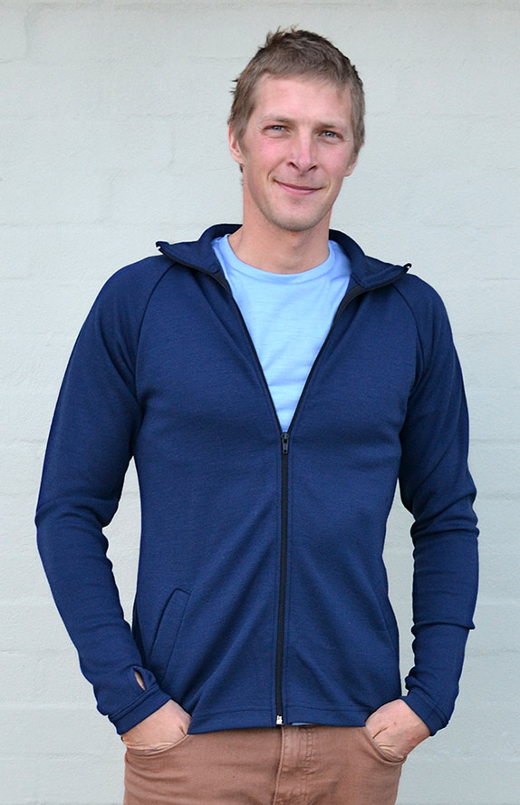Zip Jacket - Heavyweight (~360g) - Men's Indigo Blue Heavyweight Merino Wool Zip Jacket with Thumb Holes and Side Pockets for Bush Walking and Camping - Smitten Merino Tasmania Australia