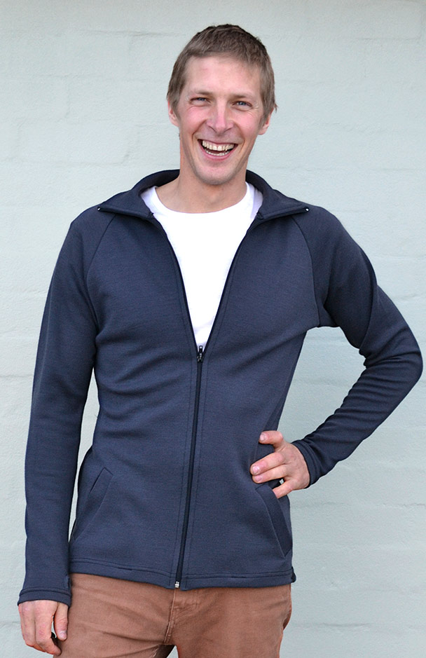 Zip Jacket - Heavyweight (~360g) - Men's Steel Grey Heavyweight Merino Wool Zip Jacket with Thumb Holes and Side Pockets for Bush Walking and Camping - Smitten Merino Tasmania Australia