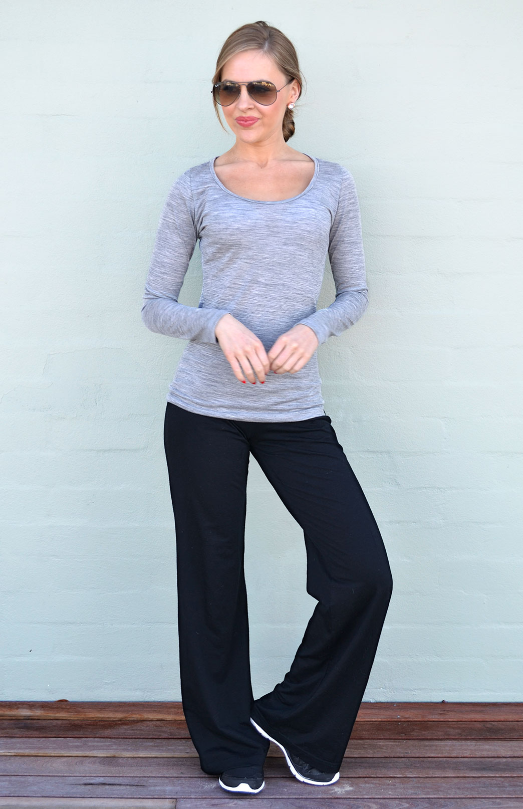 Yoga Pants - Fleece - Women's Black Wool Fleece Lined Yoga Pants with wide waistband - Smitten Merino Tasmania Australia
