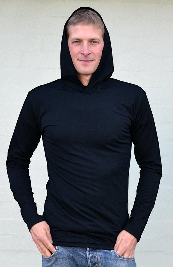 Crew Neck Hoody (~200g) - Men's Lightweight 200g Wool Long Sleeved Crew Neck Top with hood - Smitten Merino Tasmania Australia