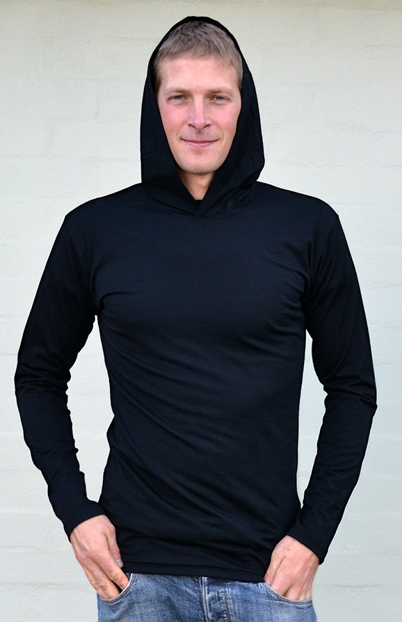 Crew Neck Hoody (~200g) - Men's Lightweight 200g Wool Long Sleeved Crew Neck Top with hood - Smitten Merino Tasmania Australia