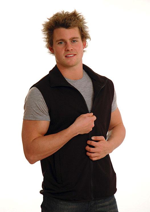 Fleece Vest (~350g) - Men's Black Pure Merino Wool Fleece Vest with Side Pockets - Smitten Merino Tasmania Australia
