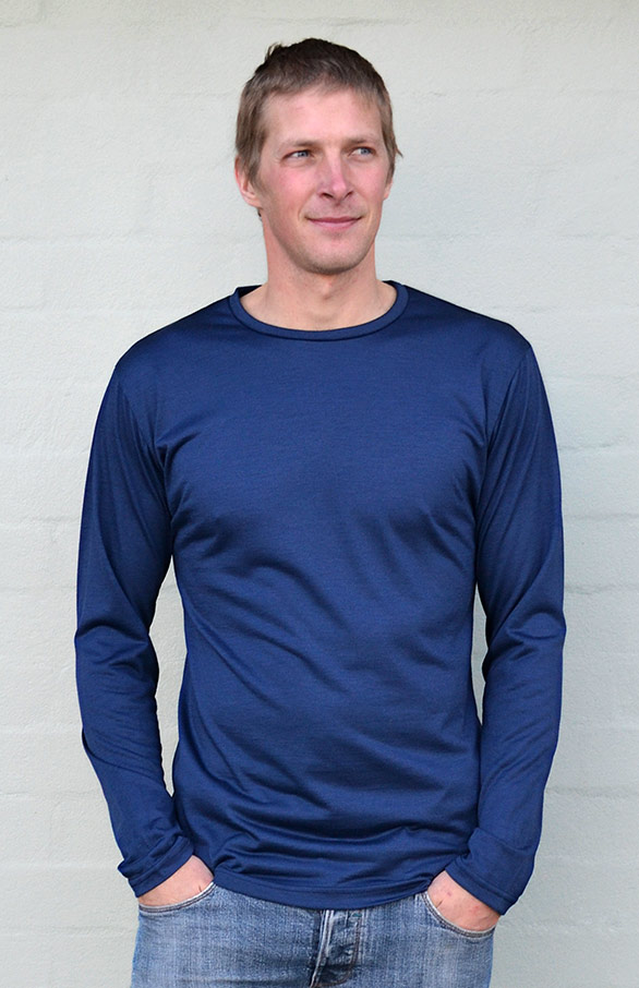 Long Sleeved Crew Neck Top - Lightweight (~170g) - Men's Indigo Blue Lightweight Merino Wool Thermal Top in Pull Over Style for Bike Riding and Outdoor Expeditions - Smitten Merino Tasmania Australia