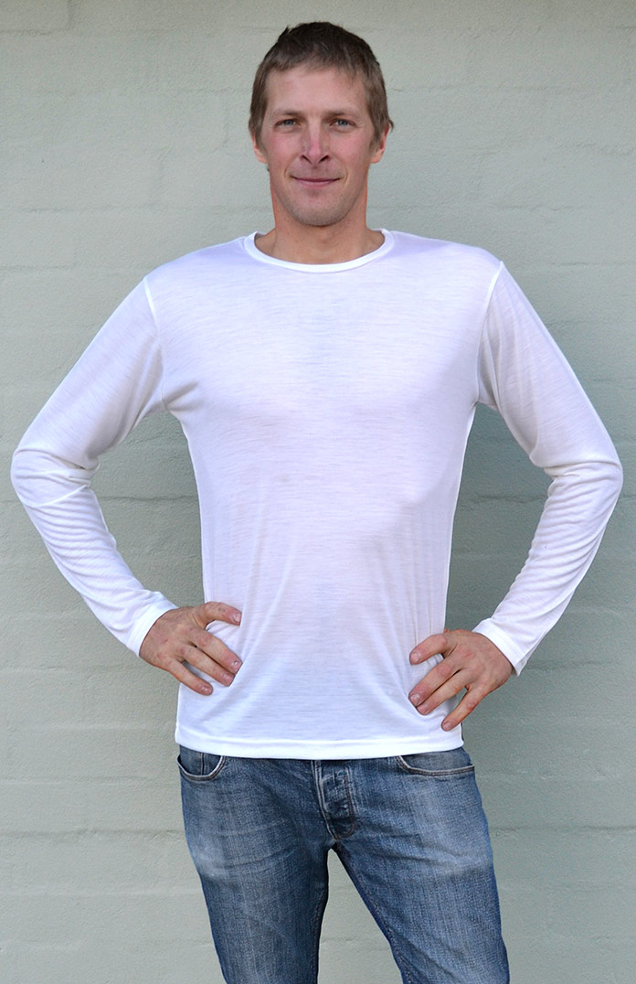 Long Sleeved Crew Neck Top - Lightweight (~170g) - Men's Ivory Lightweight Merino Wool Thermal Top in Pull Over Style for Bike Riding and Outdoor Expeditions - Smitten Merino Tasmania Australia