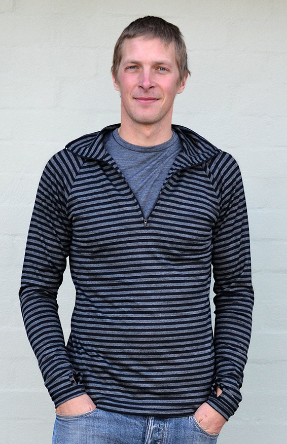 Zip Neck Top - Mid-Weight (~220g) - Men's Black and Grey Stripe Mid-Weight Merino Wool Long Sleeved Zip Neck Top with Thumb Holes for Layering with Thermals - Smitten Merino Tasmania Australia
