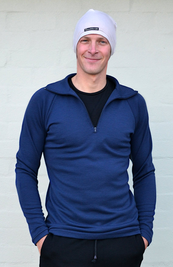 Zip Neck Top - Mid-weight (~200g) - Men's Indigo Blue Mid-weight Merino Wool Thermal Top with Zip Neck and Thumb Holes for Kayaking and Bush Walking - Smitten Merino Tasmania Australia