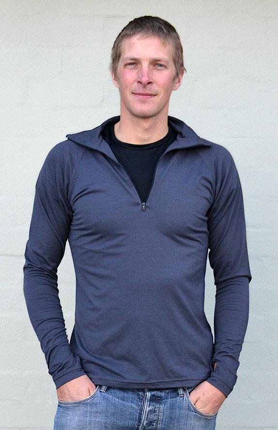 Zip Neck Top - Mid-weight (~200g) - Men's Steel Grey Mid-weight Merino Wool Thermal Top with Zip Neck and Thumb Holes for Kayaking and Bush Walking - Smitten Merino Tasmania Australia