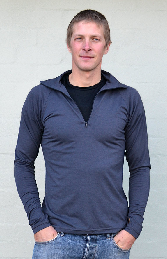 Zip Neck Top - Mid-weight (~200g) - Men's Steel Grey Mid-weight Merino Wool Thermal Top with Zip Neck and Thumb Holes for Kayaking and Bush Walking - Smitten Merino Tasmania Australia