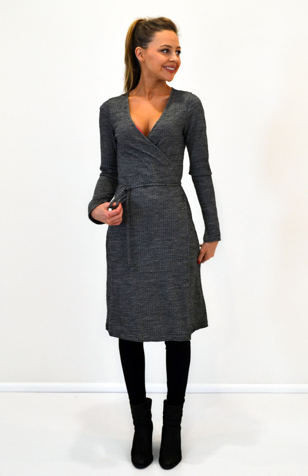 Long Sleeve Wrap Dress - Women's Black Spot Merino Wool Long Sleeve Wrap Party Dress - Smitten Merino Tasmania Australia
