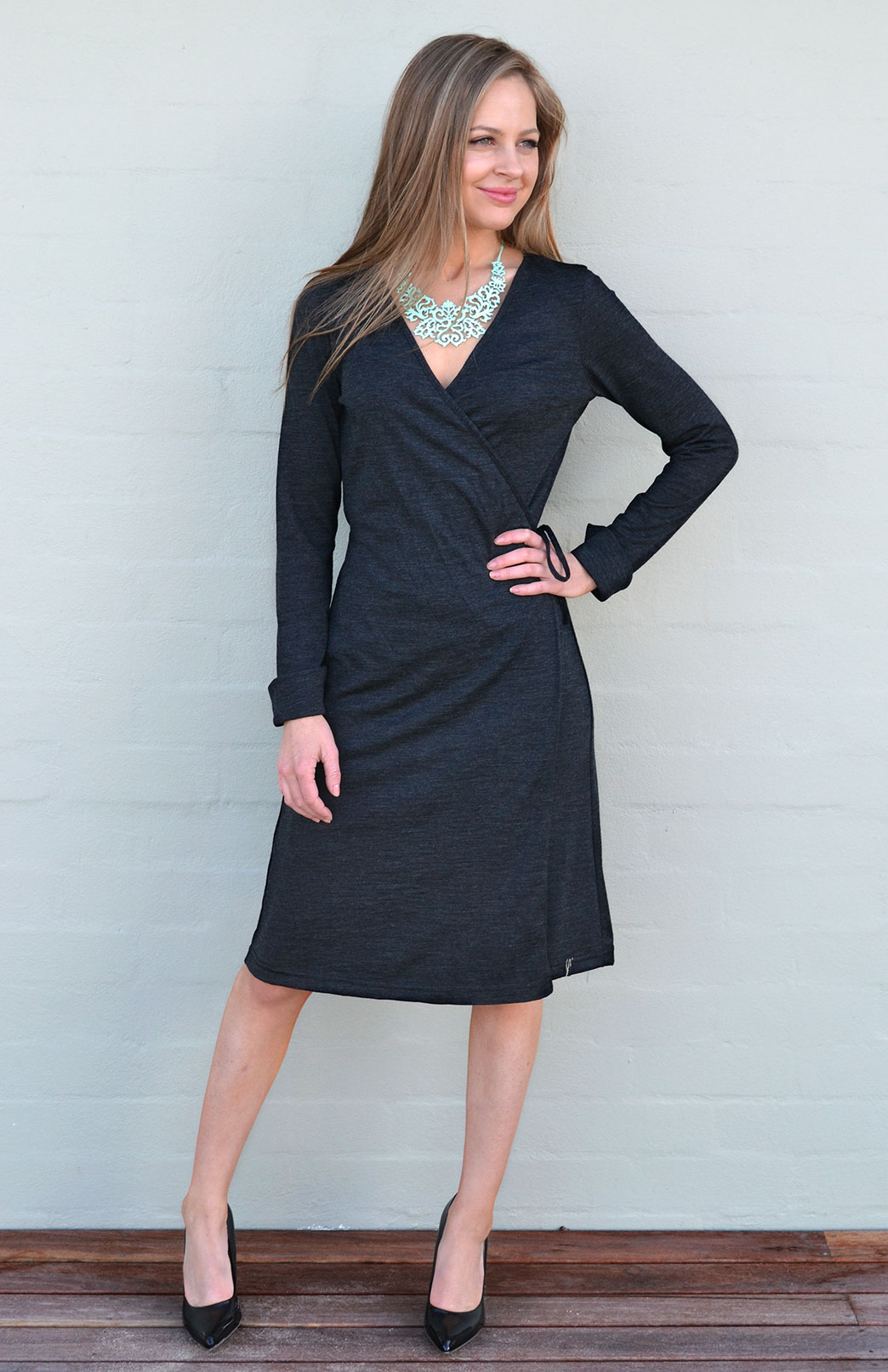 Long Sleeve Wrap Dress - Women's Charcoal Merino Wool Long Sleeve Wrap Party Dress - Smitten Merino Tasmania Australia
