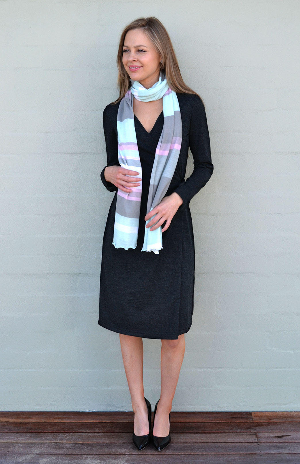 Wrap Dress - Long Sleeved - Women's Dark Charcoal Grey Merino Wool Long Sleeved Wrap Dress with adjustable ties - Smitten Merino Tasmania Australia