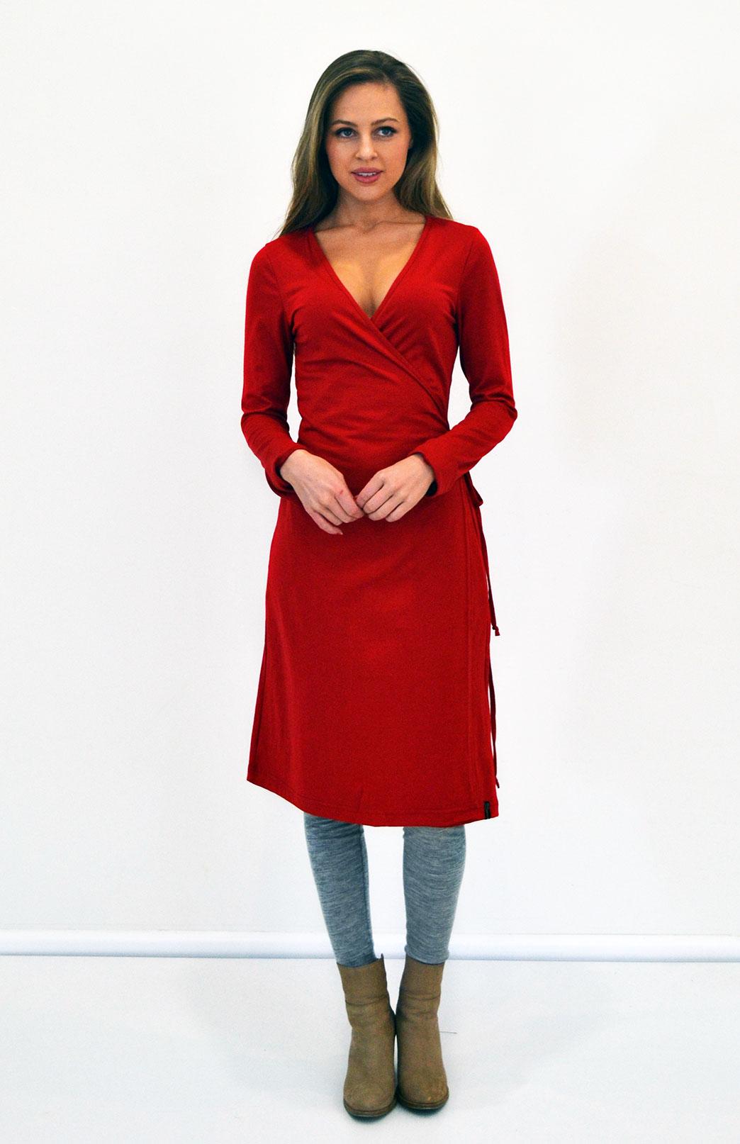176581937c0b Wrap Dress | Women's Flame Red Merino Wool Long Sleeved Wrap Dress ...
