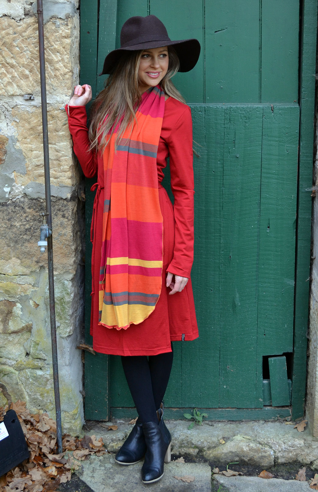 Wrap Dress - Long Sleeved - Women's Flame Red Merino Wool Long Sleeved Wrap Dress with adjustable ties - Smitten Merino Tasmania Australia