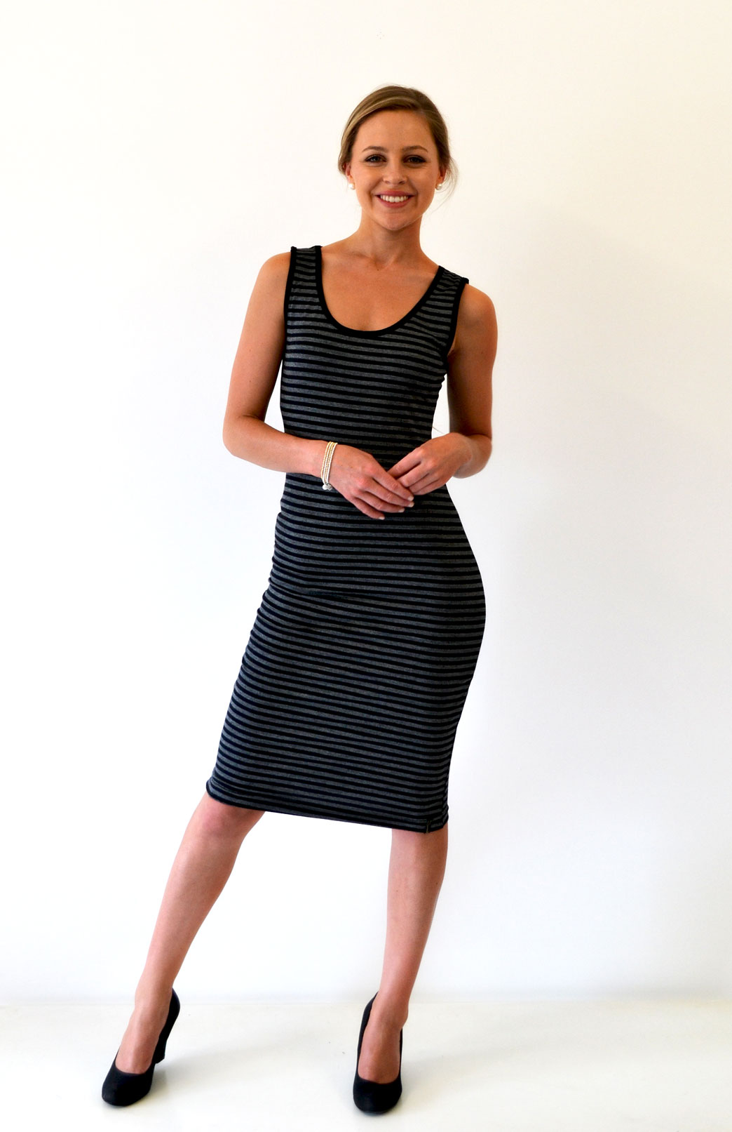 Scoop Neck Dress - Sleeveless - Women's Merino Wool Black and Grey Stripe Sleeveless Scoop Neck Dress - Smitten Merino Tasmania Australia