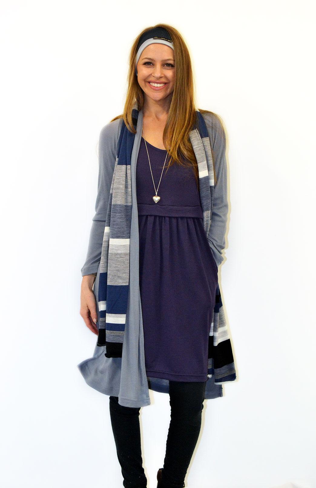 Long Drape Cardigan - Lightweight - Women's Knee Length Armani Grey Merino Wool Waterfall Cardigan - Smitten Merino Tasmania Australia