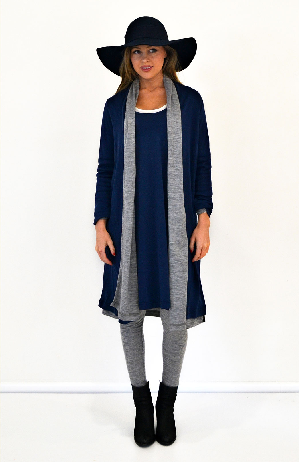 Long Drape Cardigan - Lightweight - Women's Indigo Blue Lightweight Merino Wool Long Drape - Smitten Merino Tasmania Australia