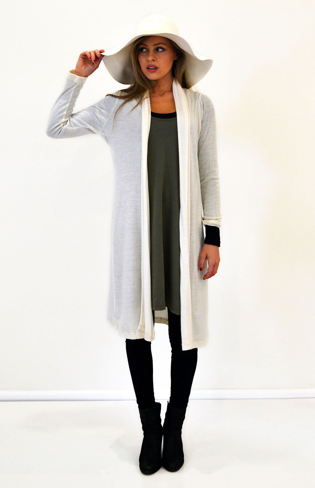 Long Drape Cardigan - Lightweight - Women's Knee Length Ivory Merino Wool Waterfall Cardigan - Smitten Merino Tasmania Australia