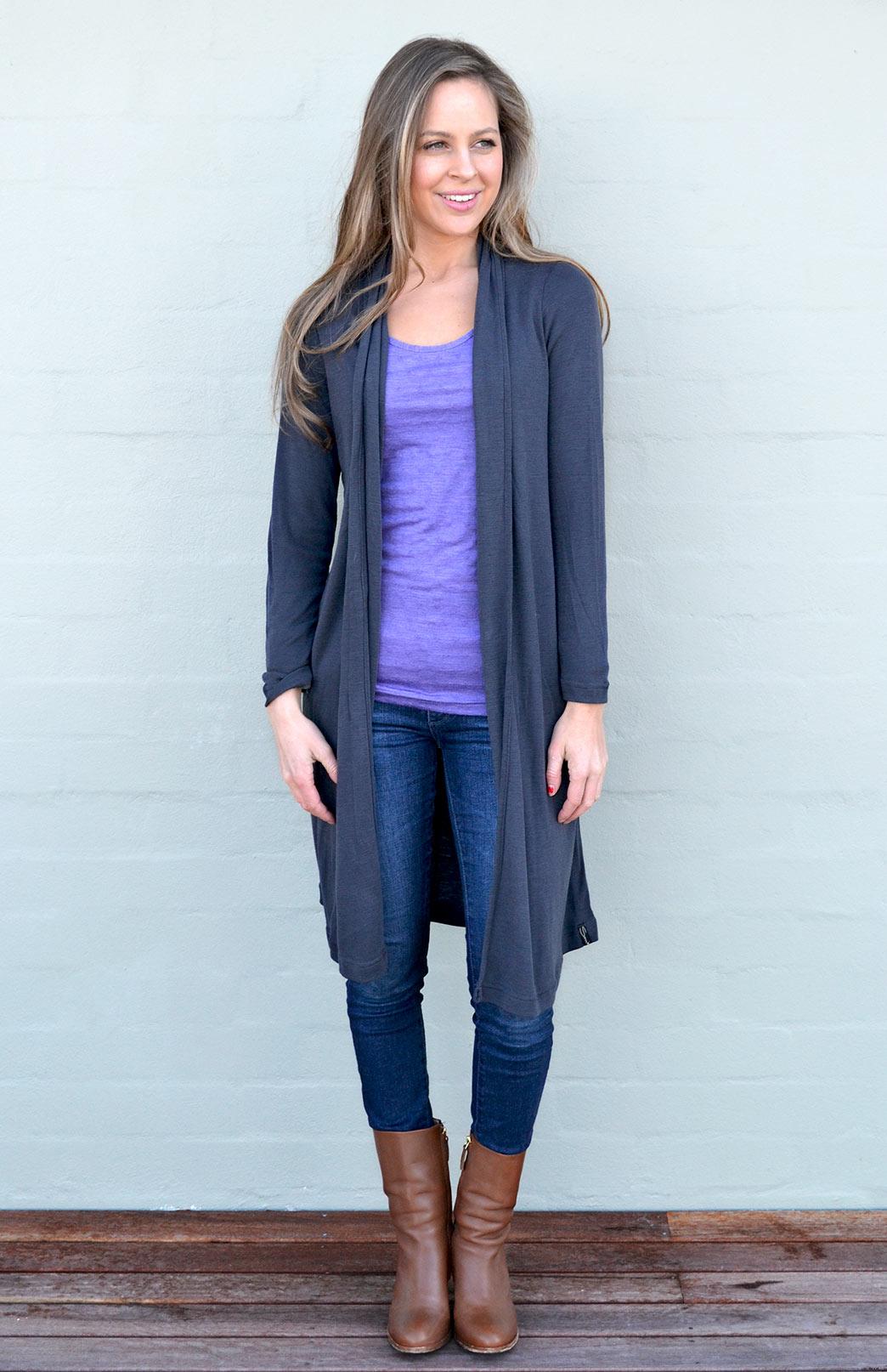 Long Drape Cardigan - Women's Steel Grey Lightweight Merino Wool Long Drape - Smitten Merino Tasmania Australia