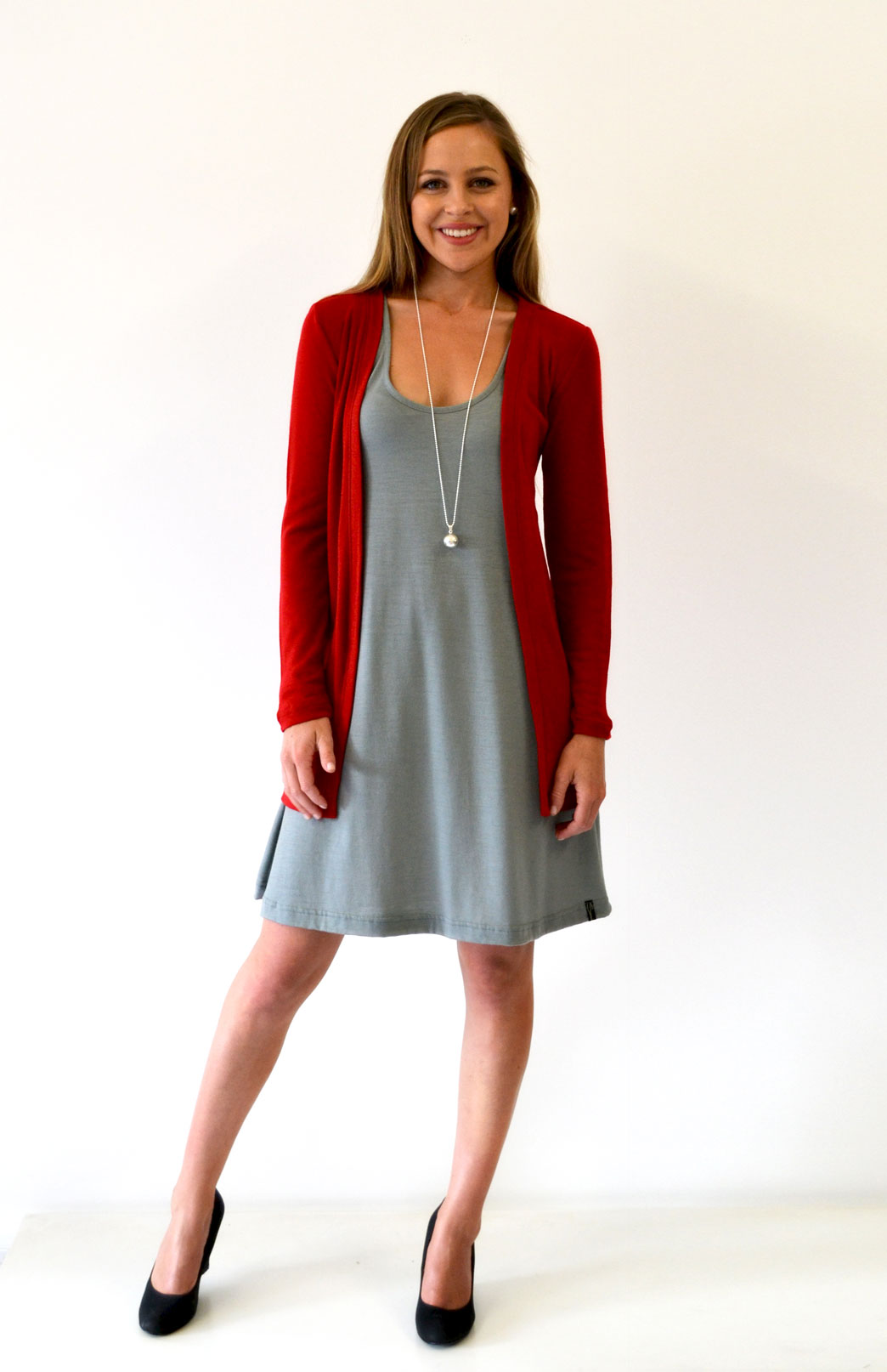 Slimline Cardigan - Women's Flame Red Wool Cardigan with no buttons or fastenings - Smitten Merino Tasmania Australia