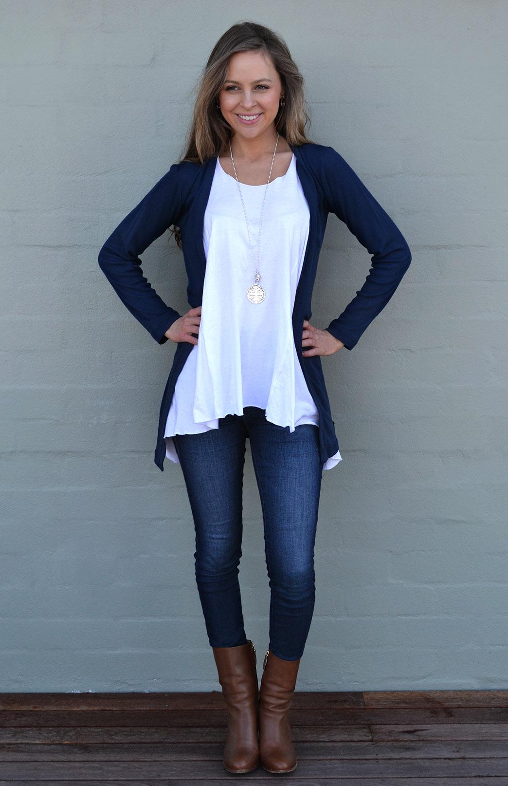 Slimline Cardigan - Women's Classic Dark Indigo Blue Long Sleeve Simple Merino Wool Cardigan - Smitten Merino Tasmania Australia