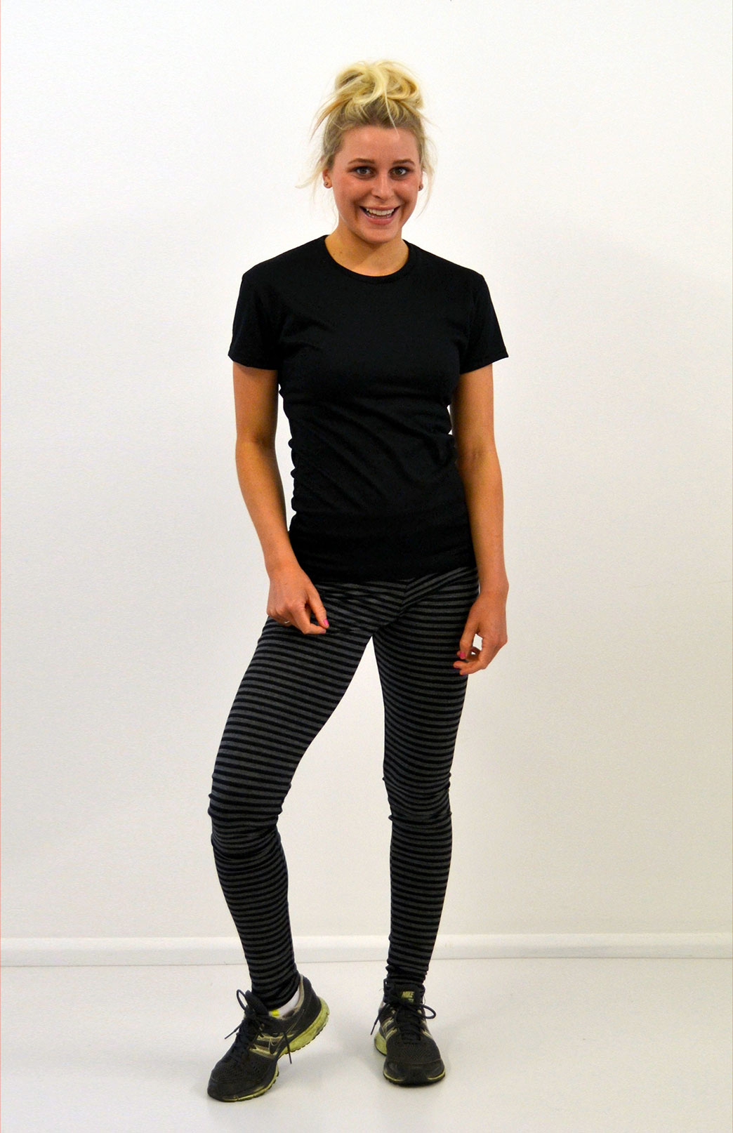 Womens Leggings - 220g - Womens Striped Pattern Superfine Merino Thermal Activewear Leggings - Smitten Merino Tasmania Australia