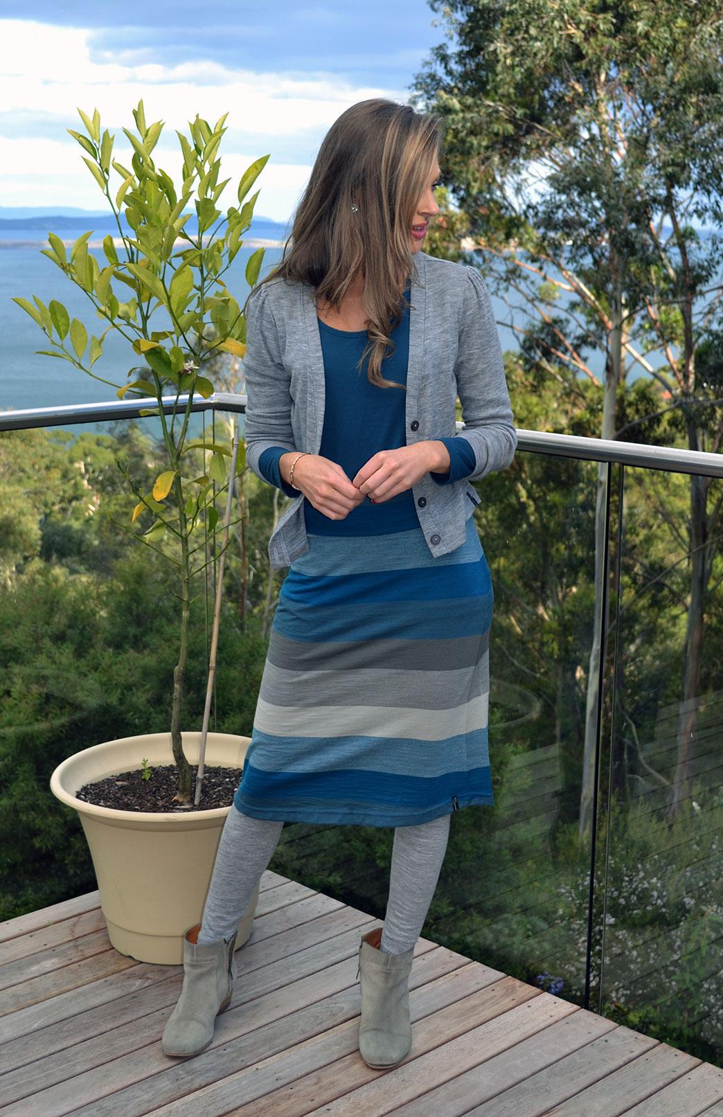 A-line Skirt - Pattern - Women's Teal Multi Stripe A-Line Wool Skirt - Smitten Merino Tasmania Australia