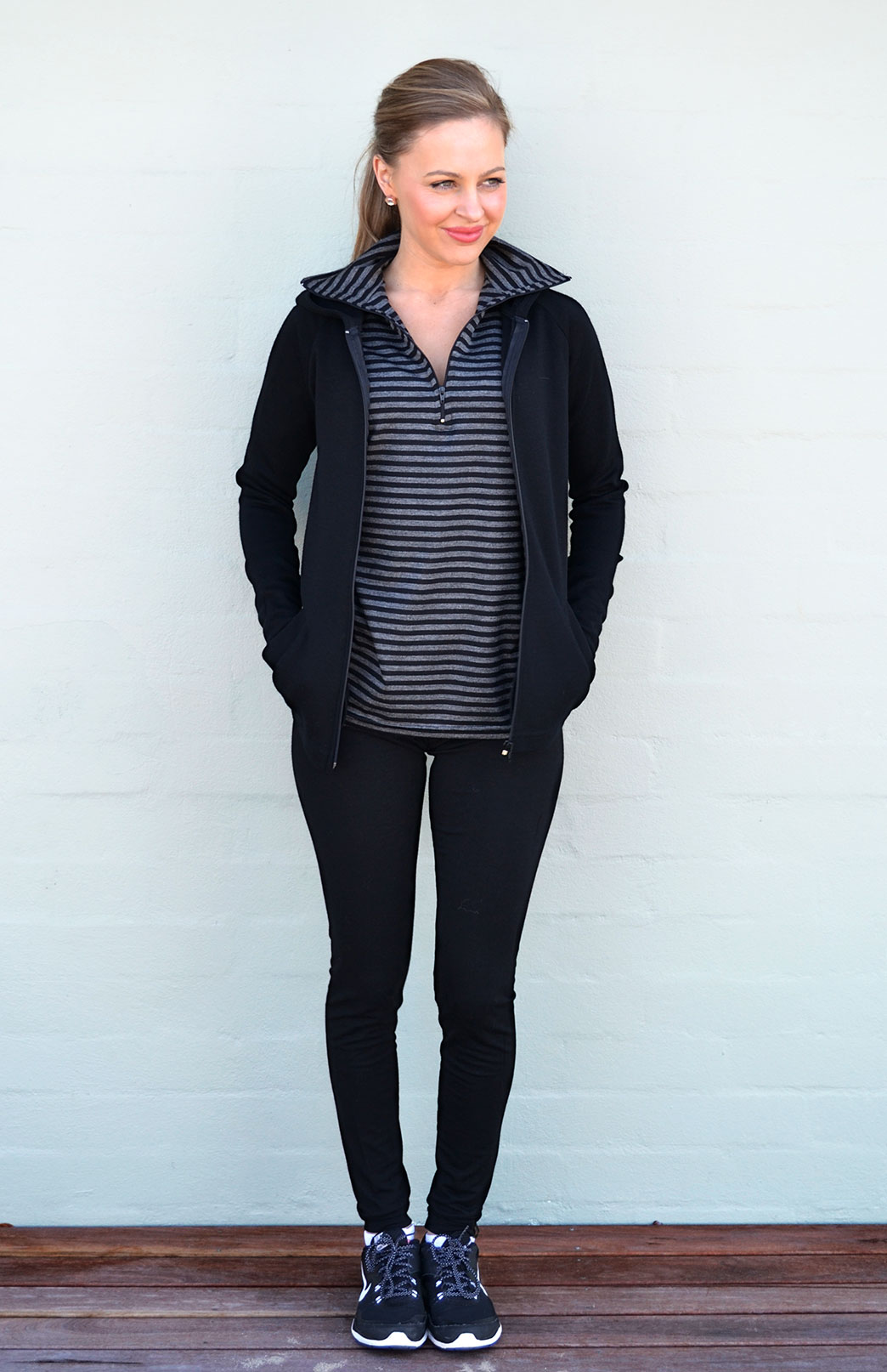 Zip Jacket with Hood - Heavyweight (360g) - Women's Black Wool Heavyweight Jacket with Hood, Thumb Holes and Pockets - Smitten Merino Tasmania Australia