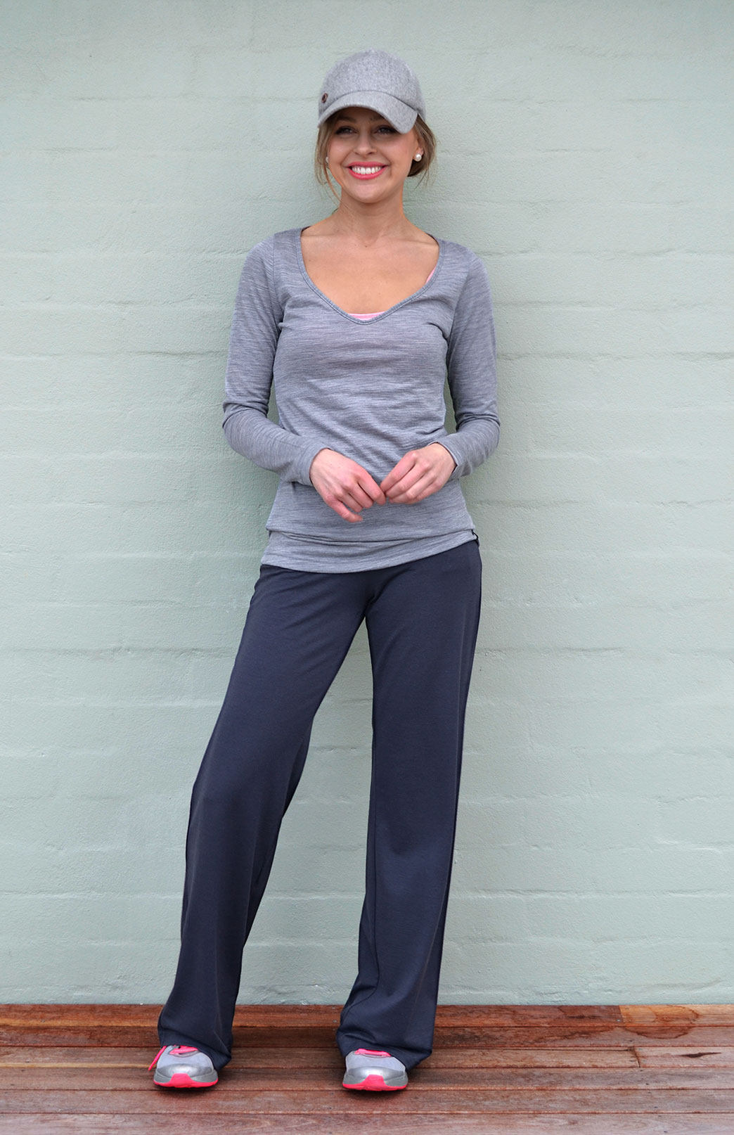Lightweight Yoga Pants - Women's Steel Grey Merino Wool Yoga and Activewear Pants - Smitten Merino Tasmania Australia