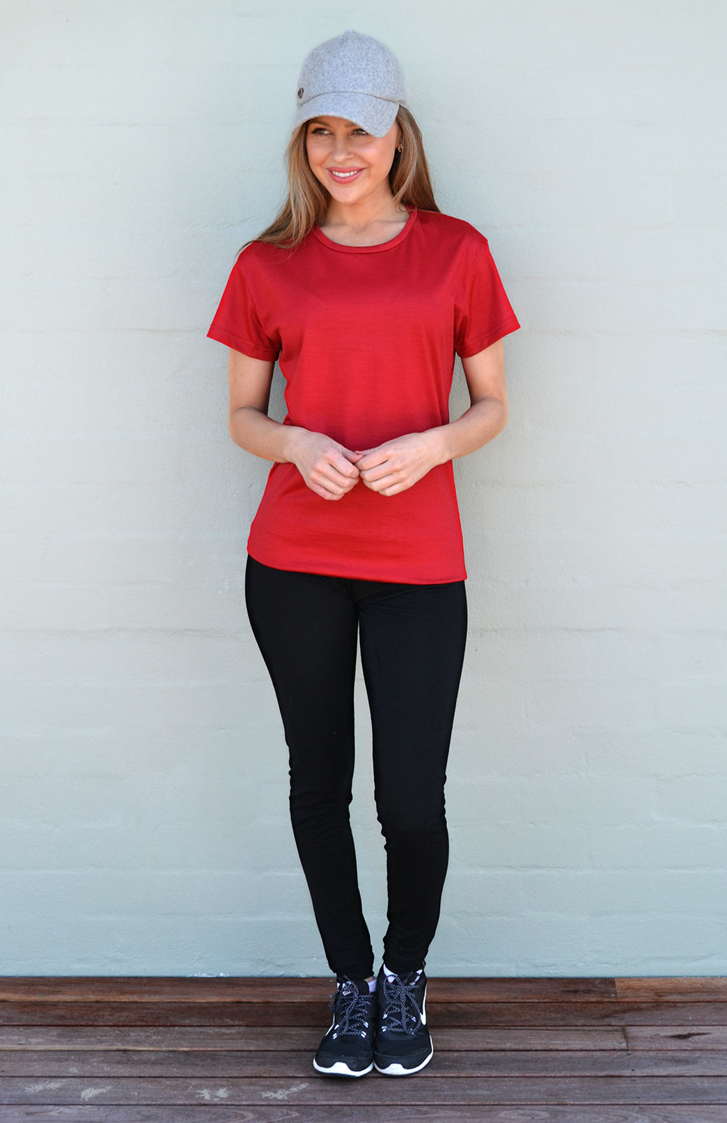 Short Sleeved Crew Neck T-Shirt - Ultralight (170g) - Women's Flame Red Wool Short Sleeved Crew Neck T-Shirt - Smitten Merino Tasmania Australia