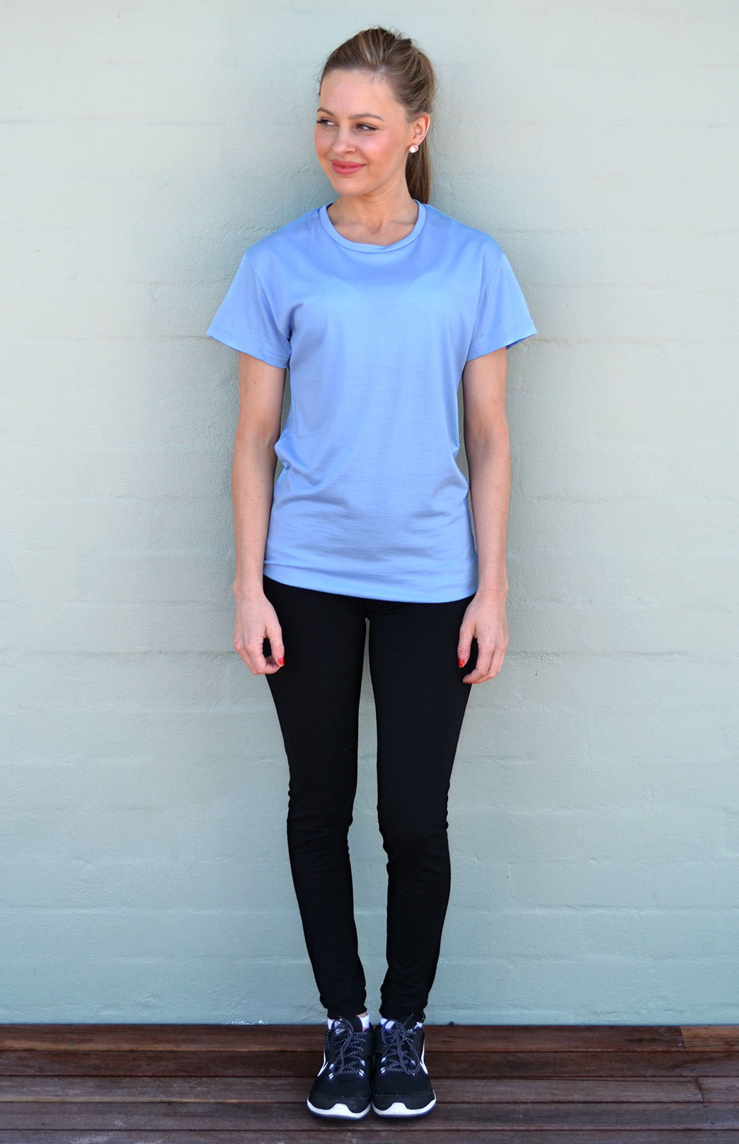 Short Sleeved Crew Neck T-Shirt - Ultralight (170g) - Women's Light Blue Wool Short Sleeved Crew Neck T-Shirt - Smitten Merino Tasmania Australia
