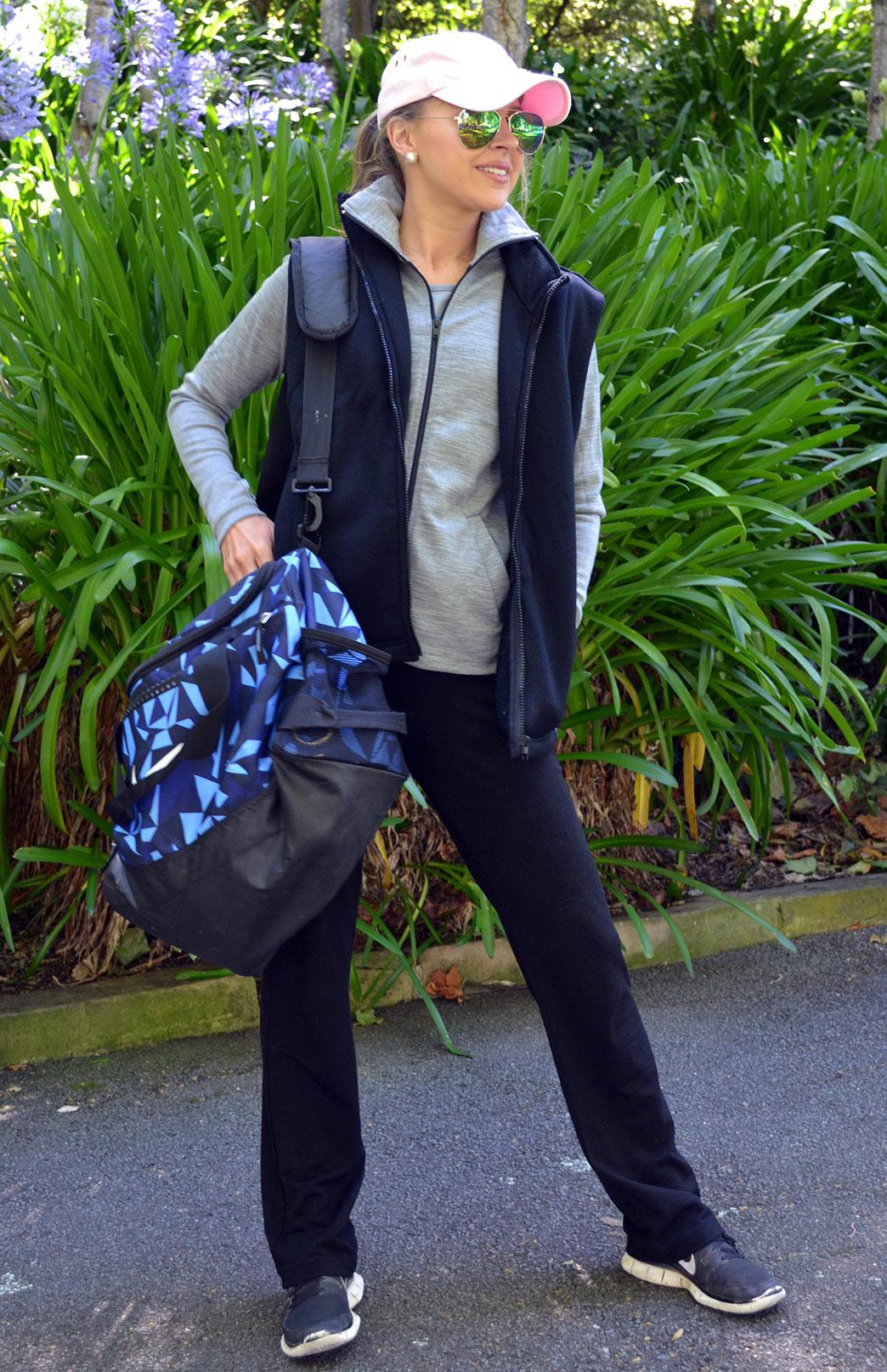 Wool Fleece Vest - Women's Black Wool Fleece Vest with zip fastening and pockets - Smitten Merino Tasmania Australia