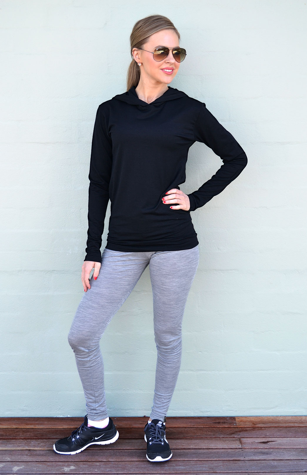 Leggings - Lightweight (180g) - Women's Light Grey Marl Pure Merino Wool Pull On Tights with Elastic Waistband - Smitten Merino Tasmania Australia