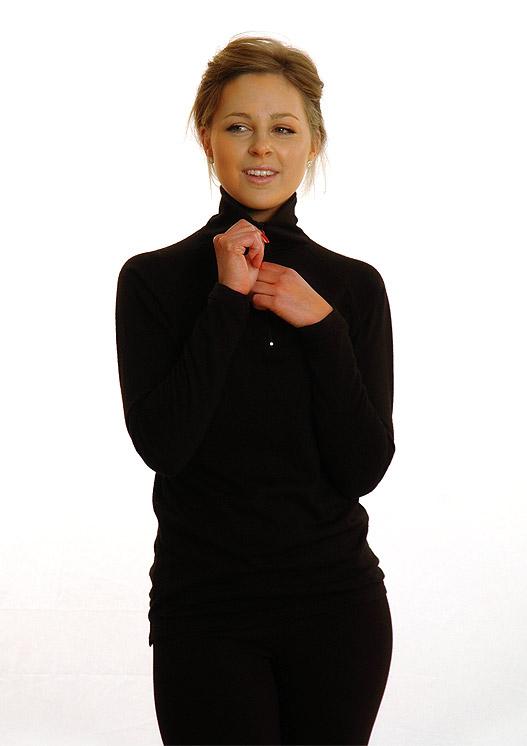 d69f756bdd4c14 Zip Neck Top | Women's Merino Wool Black Heavyweight Zip Neck ...