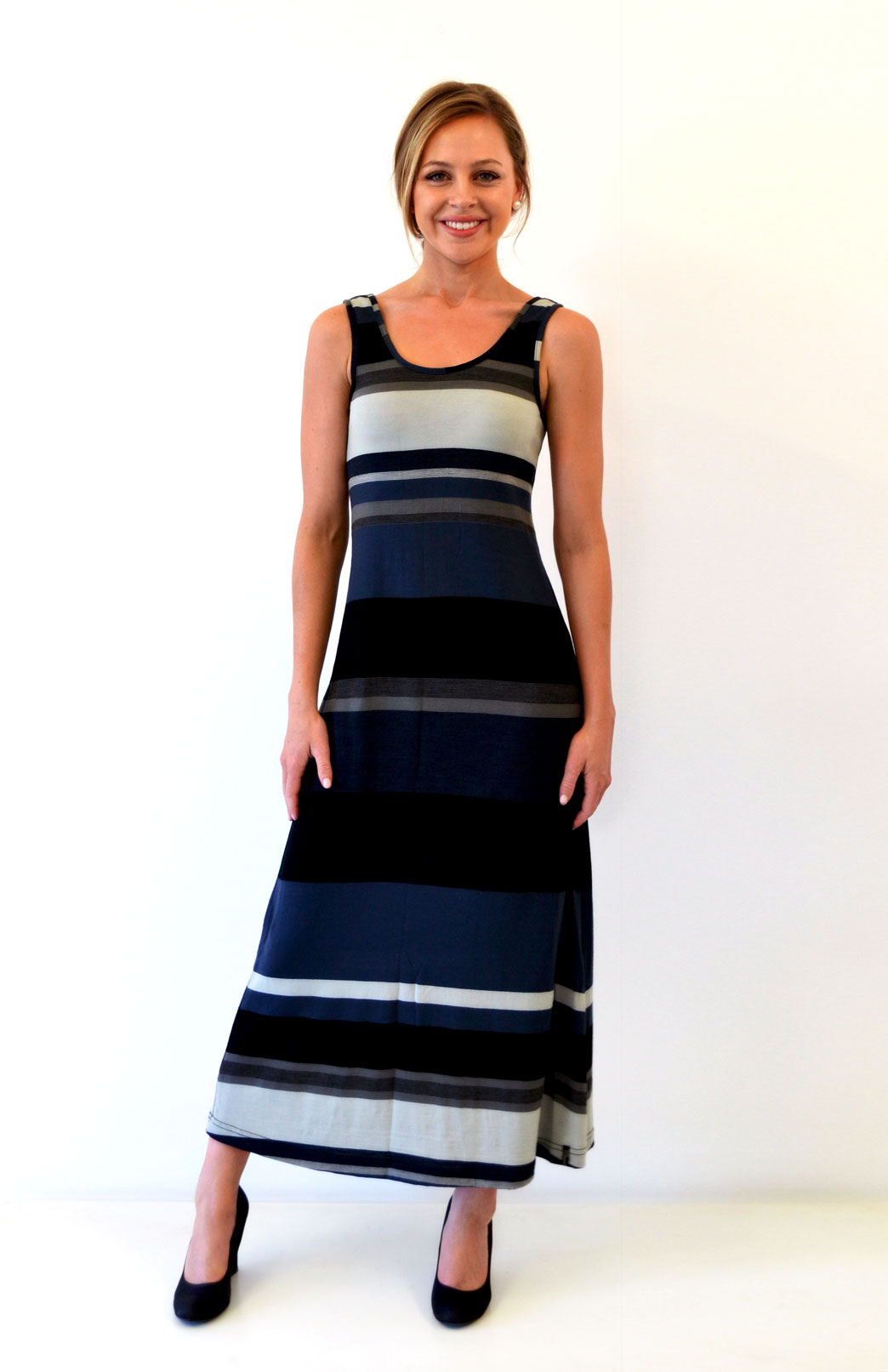 Maxi Dress - Multi Striped - Women's Merino Wool Black and Grey Multi Striped Maxi Dress with Scoop Neckline - Smitten Merino Tasmania Australia