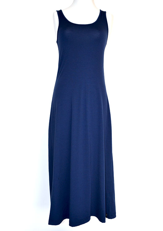 Maxi Dress - Plain - Women's Merino Wool Indigo Blue Maxi Dress with Scoop Neckline - Smitten Merino Tasmania Australia
