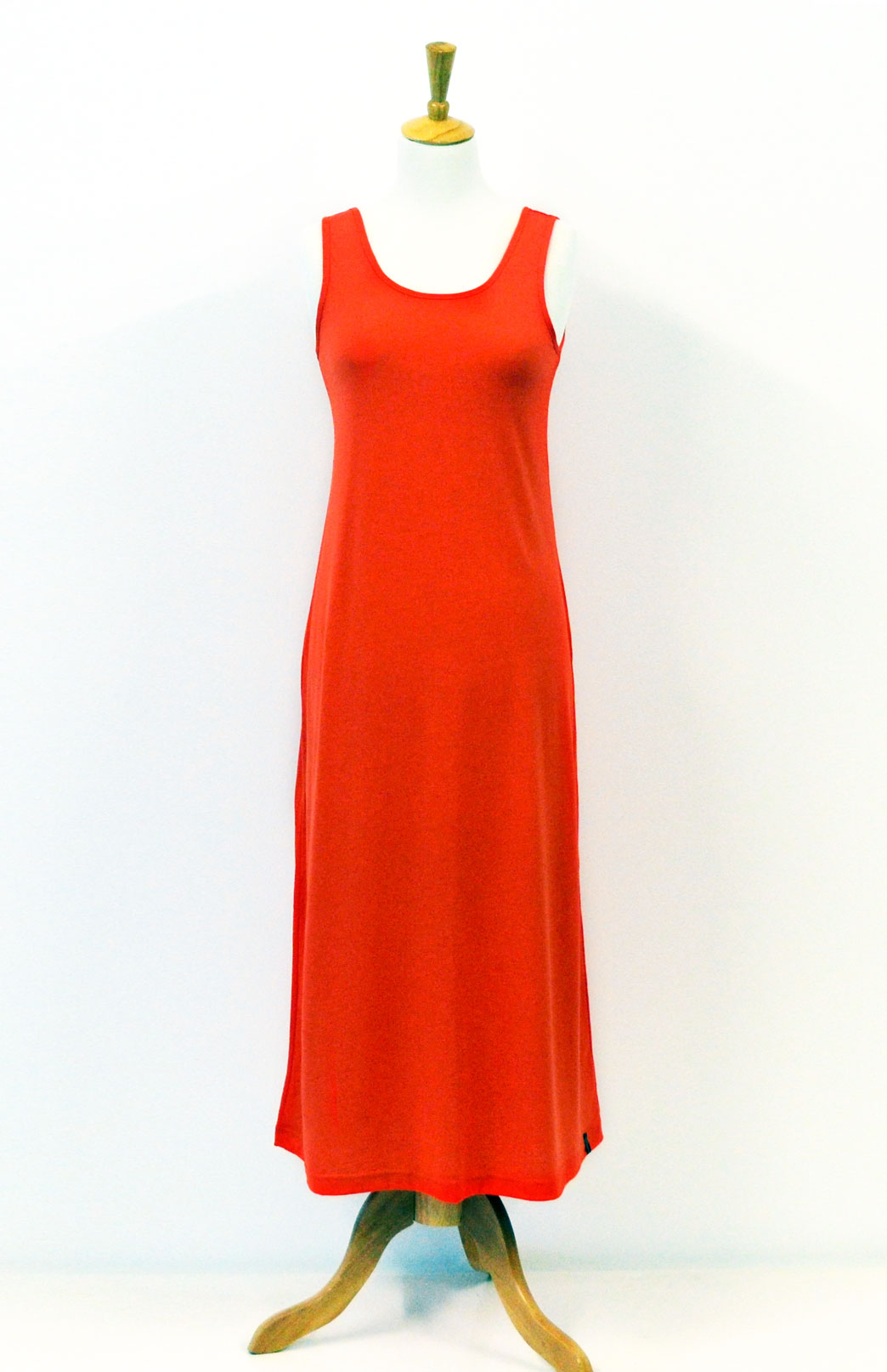 Maxi Dress - Plain - Women's Merino Wool Tangerine Orange Maxi Dress with Scoop Neckline - Smitten Merino Tasmania Australia