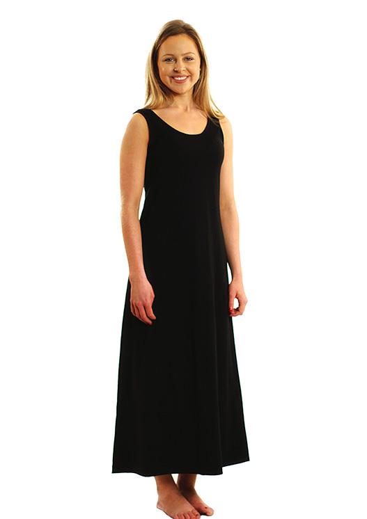 Maxi Dress - Plain - Women's Merino Wool Classic Black Maxi Dress with Scoop Neckline - Smitten Merino Tasmania Australia