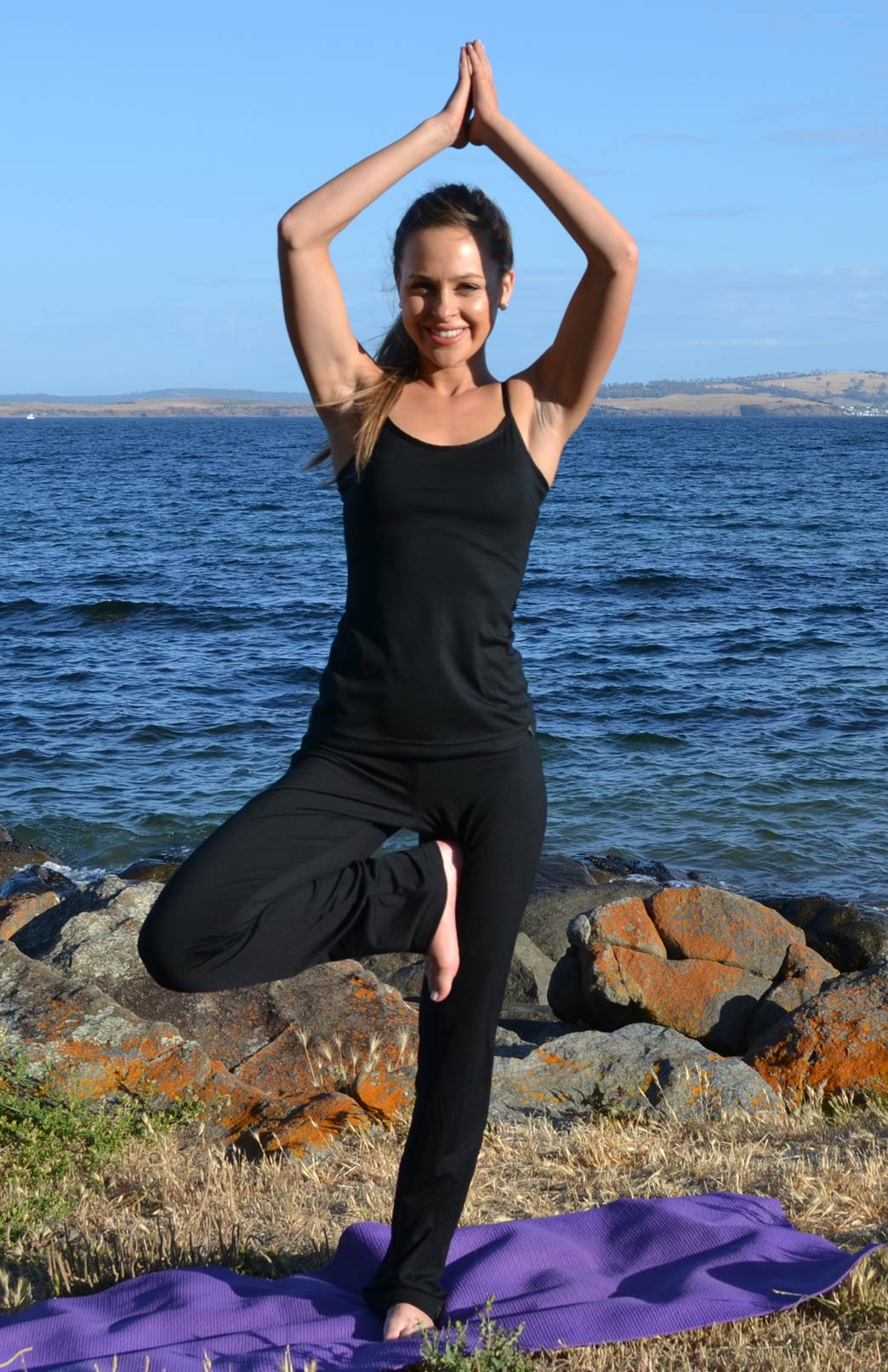 Camisole Top - Women's Wool Black Camisole Layering Thermal Tank Top - Smitten Merino Tasmania Australia