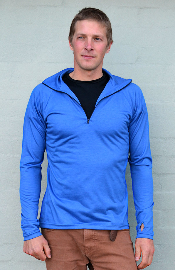 Zip Neck Top - Lightweight (~170g) - Men's Bright Blue Pure Merino Wool Zip Neck Pull Over Top with Thumb Holes - Smitten Merino Tasmania Australia