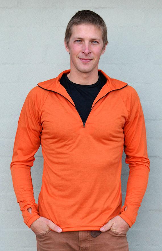 Zip Neck Top - Lightweight (~170g) - Men's Bright Orange Pure Merino Wool Zip Neck Pull Over Top with Thumb Holes - Smitten Merino Tasmania Australia