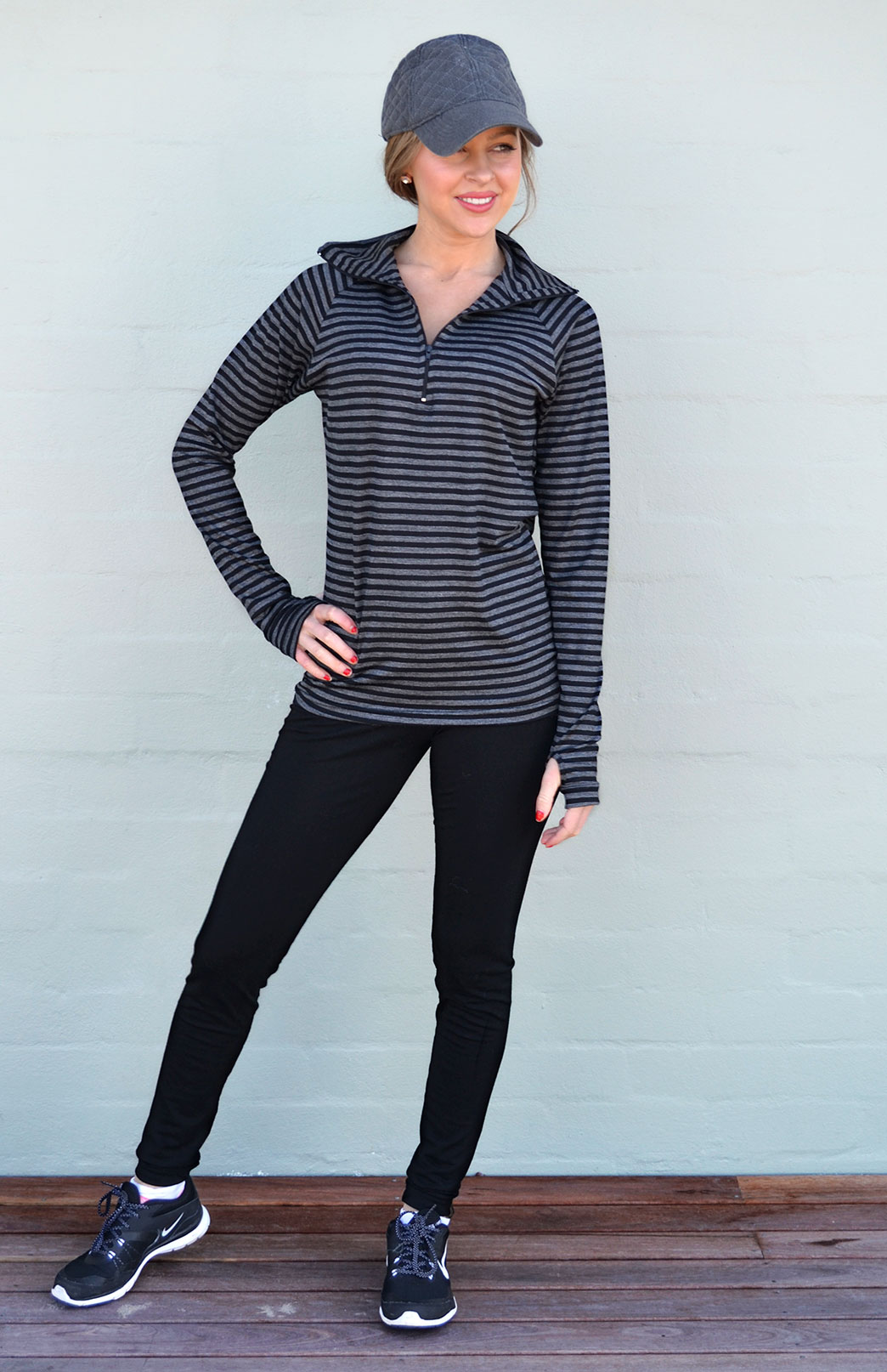 Zip Neck Top - Midweight (220g) - Women's Black and Grey Stripe Wool Zip Neck Pullover Top with collar - Smitten Merino Tasmania Australia